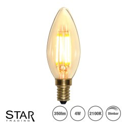 4W Decoration LED filament lampa med E14 sockel 350lm - dimbar
