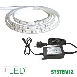 LED stripe 5m varmvit med transformator IP65 - System12