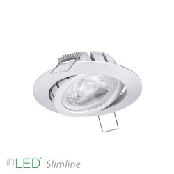 inLED Slimline 9W LED spotlight IP44 silver, supertunn endast 27mm djup