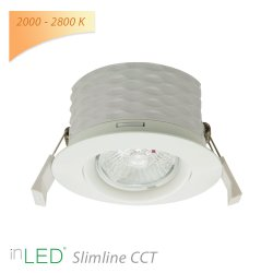 LED spotlight inLED Slimline CCT 9W vit 2000 - 2800K dim-to-warm