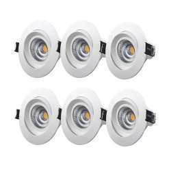 M-Penny 6-pack 7,4W slimmade LED spotlights 2700/3000K IP44