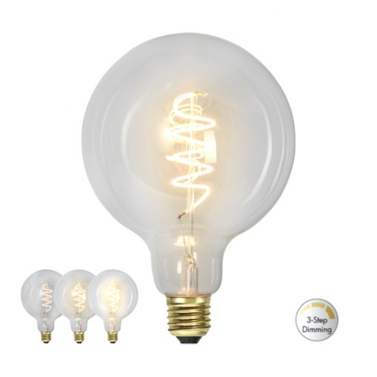 4W LED-lampa E27 G125 Clear Spiral Filament 3-step dim Ø12,5 cm