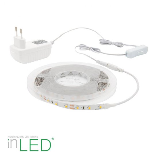 LED stripe / LED list 5m extra varmvit 2400K - IP20 - med vit transformator