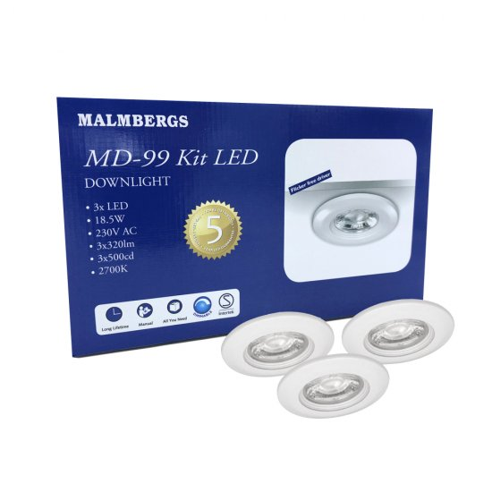 MD-99 5W 3-pack LED spotlight IP44 med transformator