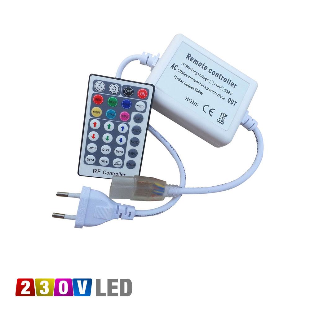 Underbar Strömanslutning med fjärrkontroll för RGB LED flexlist 230V JX-03